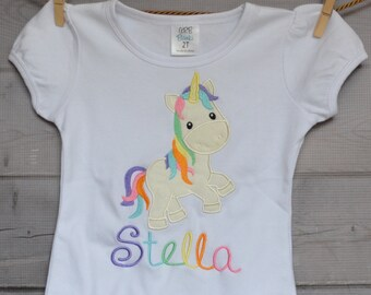 Personalized Unicorn Applique Shirt or Bodysuit Girl or Boy