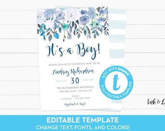 Baby Shower Invitation Template Etsy - Baby shower invitations templates editable boy
