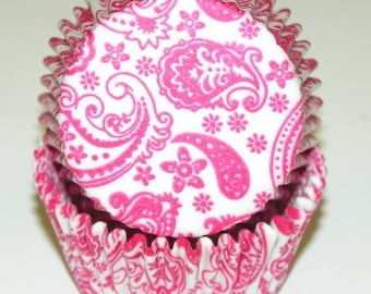 Pink Paisley Cupcake Liners, Baking Cups - Professional Grade, Greaseproof - 50 Count