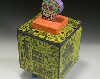 Handmade Box, Dia de los Muertos, Skeleton Box, Day of the Dead Box