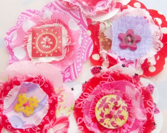 Frayed Fabric Flower Embellishments with Epoxy Button Centers Set