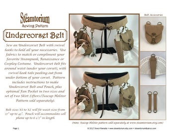 Undercorset Belt Sewing Pattern -festival utility corset belt to wear under corset w/ swivel hooks -Steampunk Victorian Renaissance Cosplay