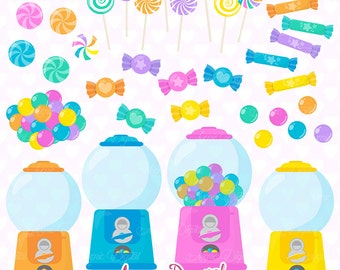 Pastel Candy Clipart. Scrapbook printable candy dispenser Clip Art Commercial Use. Cute Sweets dessert lollipops gumball graphics