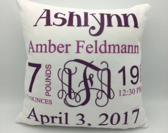 Monogram Baby Pillow | New Baby Pillow | Baby Announcement  | Baby Stats Pillow | Keepsake Gift | New Parent Gift | Personalized Baby Gift