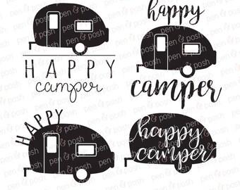Happy Camper SVG - Camper SVG - Camping SVG - Happy Camper Clip Art - Happy Camper - Summer  Camping Clip Art - Svg File