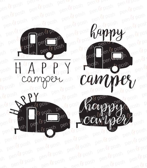 Happy Camper Svg Camping Clip Art Rh Etsystudio Com Mountain Black And White With