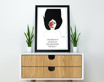 I want you-print 21x30 + frame (black, pink, blue, red, white)