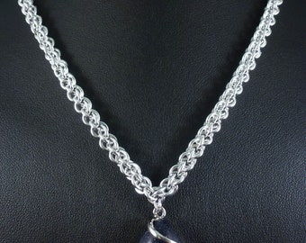 Chainmaille Necklace with Blue Goldstone Pendant Necklace - Midnight Blue - Chainmail Gemstone Jewellery