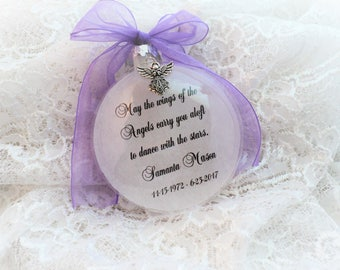 Memorial Christmas Ornament May the Wings of the Angels, Free Personalization and Charm