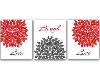 Home Decor Wall Art, Live Laugh Love, Coral and Gray Art, Digital Download, Flower Burst, Printable Wall Art - HOME17