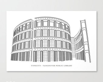 TypeCity: Vancouver Public Library Typography Stretched Canvas Art