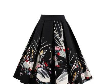Vintage Style swan print skirt size 16