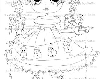 INSTANT DOWNLOAD Digital Digi Stamps Big Eye Big Head Dolls Digi  IMG885 By Sherri Baldy