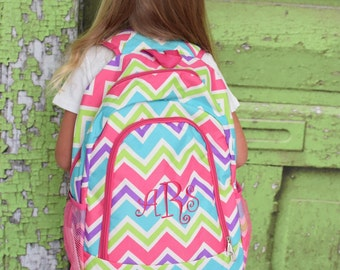Personalized Multicolored Girly Chevron School Size Backpack Book Bag - Monogrammed  Name or Initials or Word 738ba8e962675