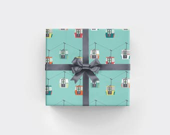 Gondolas Holiday Gift Wrap Ski Vacation Christmas Wrapping Paper North Pole