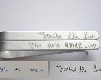 Tie Clip - Tie Bar - Actual Handwriting - Engraved - Hidden Message - Aluminum Lightweight