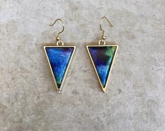 Blue Holographic Triangle Dangle Earrings