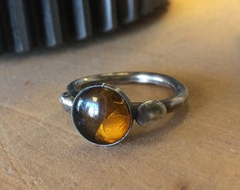 Sterling Silver and Amber Ring Size 9