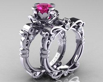 Caravaggio Renaissance 950 Platinum 1.0 Ct Pink Sapphire Diamond Engagement Ring Wedding Band Bridal Set R615S-PLATDPS