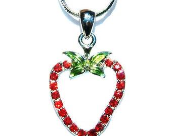 Swarovski Crystal Juicy Red STRAWBERRY Fruit pendant Charm Chain Necklace Xmas New Christmas Gift