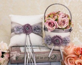 Dusty Lilac Flower Girl Basket and Wedding Ring Pillow, Gray and Lilac Flower Girl Basket and Ring Bearer Pillow Set, Lilac Wedding