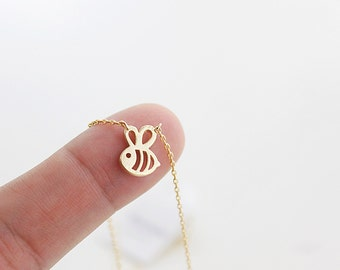 Gold and Silver Tiny Honey Bee Charm Necklace . Bridesmaid Necklace . Bridesmaid Gift Birthday Gift . Dainty and Delicate Necklace