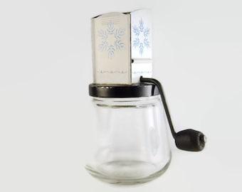 Vintage Blue White Nut Grinder Grater Glass Enamel