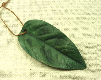 LEAF PENDANT, One of a Kind, Stoneware Handmade Leaf,  Reversible, Terra Sigillata Finish Both Sides, Happiness Symbol, Jewelry Component