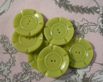 6 buttons, Apple green flower 3 cm diameter