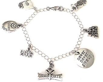 2018 graduation bracelet, gift for graduate, graduation charm bracelet, graduation necklace, class of 2018, inspirational gift