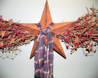 """Rusted Star Swag with 12"""" Antiqued Metal Star, 36"""" Long Small Red Pip Berries Accented with Small Rusted Metal Stars"""