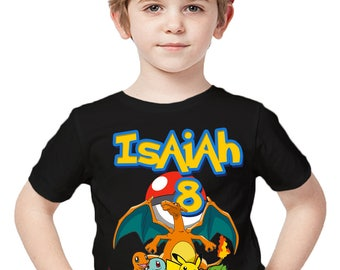 Pokemon Birthday Shirt Add Name & Age Pokemon GO Mystic Custom Birthday Party TShirt