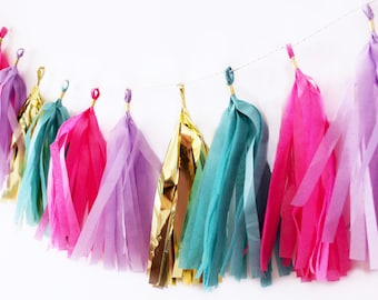 Pink, Purple, Teal, and Gold Tassel Garland   Tassel Banner   Pink and Purple Party Decor   Party Supplies   Birthday Party Decor   Genie Pa
