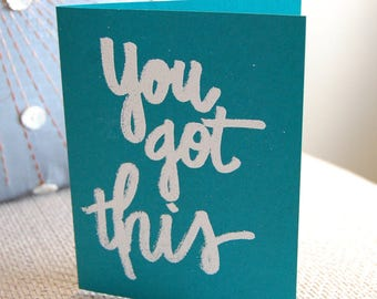 You Got This Note Card, Embossed, Marker Style, notecards