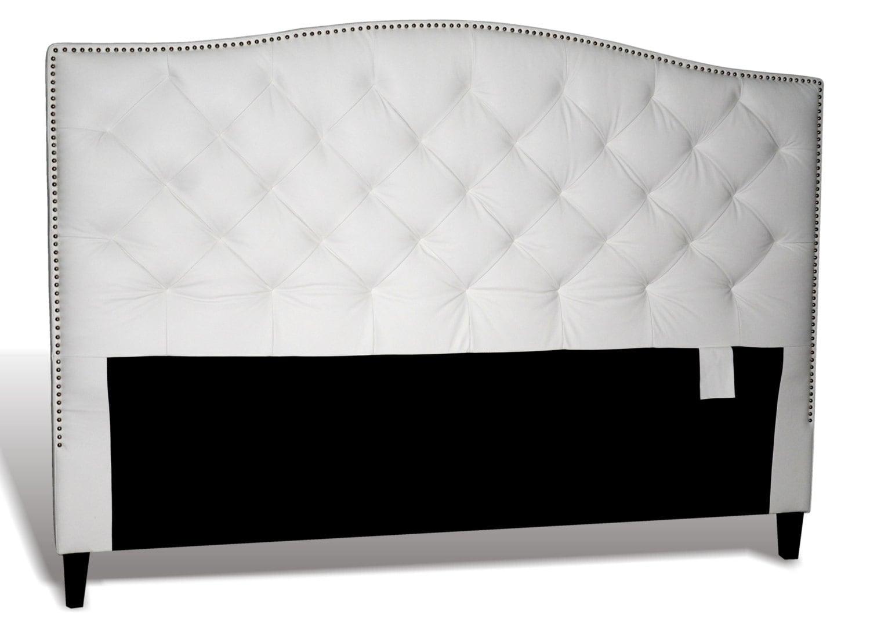 King Size White Genuine Leather Diamond Tufted Headboard