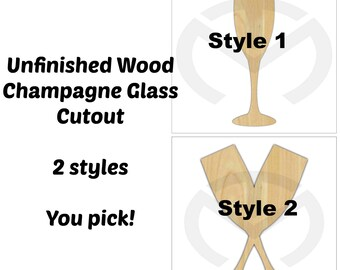 Champagne Glass - 01634- Unfinished Wood Laser Cutout, Door Hanger, Ready to Paint & Personalize, Various Sizes, 2 Styles, Wedding