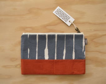 Hand Printed Orange & Blue Fabric Pouch - Zipper Pouch with Handmade Fabric, Geometric Gray Blue and Orange