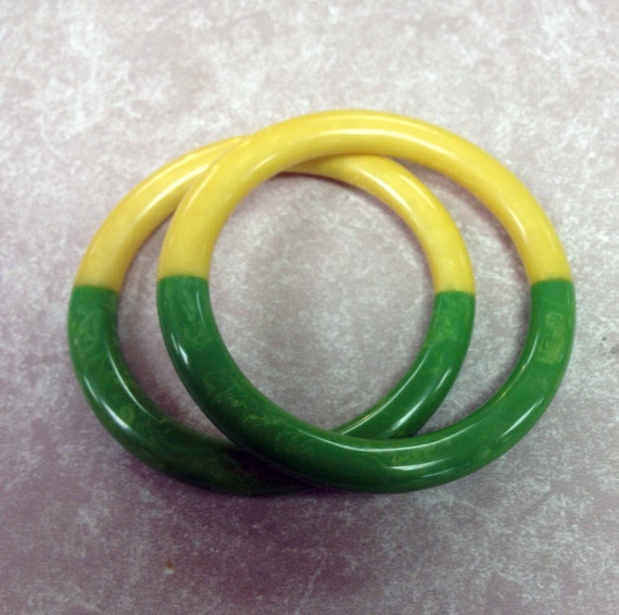 Contemporary Artisan Bakelite Utilizing Vintage Materials, Two color Bracelet