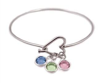 Personalized Heart Birthstone Bangle Bracelet - Handmade Jewelry - Bangle Bracelet - Mother's Day - Mom Birthstone Jewelry - Grandma - 1010