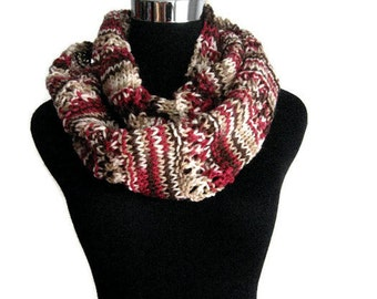 Pinkish Red Brown and Cream Lace Striped Infinity Scarf, The Stacey Scarf, Cowl Scarf, Knit Circle Scarf, Vegan Knit Scarf Infinity