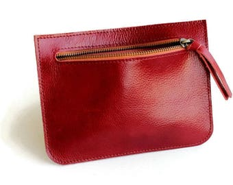 Red leather zipper pouch , Leather pouch , Red small wallet women , Woman wallet ,Leather wallet , Clutch purse