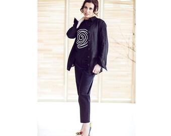 Linen Shirt, Linen Shirt Women, Linen Top, Linen Blouse, Linen Tunic, Linen Womens Clothing, Linen Clothes, Black Shirt, Black Linen Top