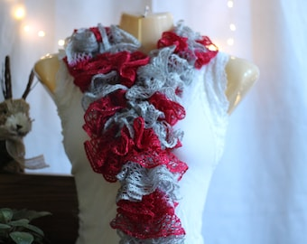 Handmade Red and Gray Ruffle Scarf