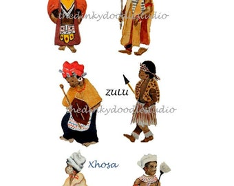 African theme,  Instant download,  African wedding,  watercolor art,  African clip art,  Zulu Xhosa Pondo, Traditional brides,  bridegrooms
