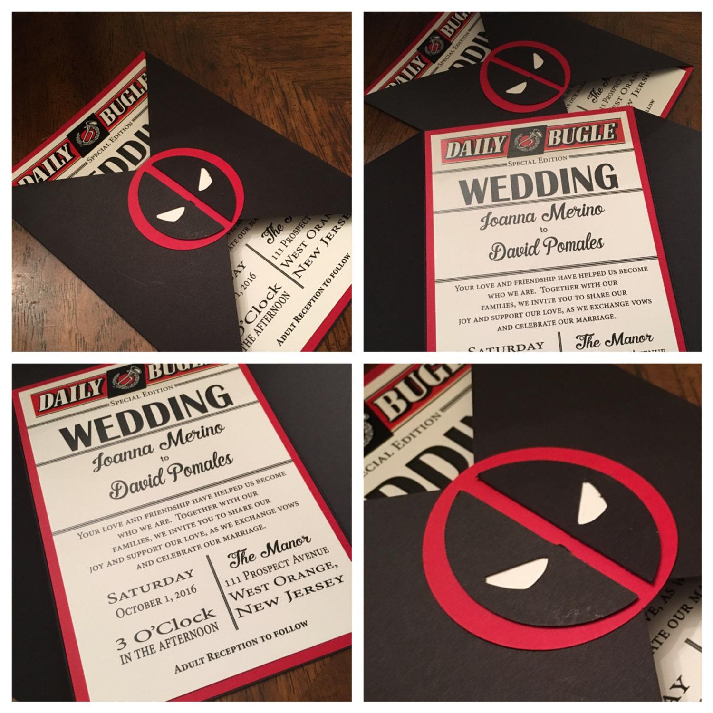 Folder Wedding Invitation Deadpool Wedding Invitation