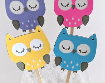 12  Pink Owl Cupcake Toppers / Owl Baby Shower Decorations / Owl Baby Shower Ideas / Purple Owl Topper/ Owl Cake Topper / Owl Birthday Theme