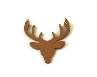 50 Paper Die Cut Deer Heads in Kraft