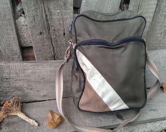 Vintage Shoulder Khaki Canvas Bag, Student Bag, School Bag, Messenger Bag from 1970s, Soviet Era Bag