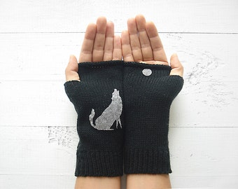 Women Hand Warmer, Wolf Gloves, Moon Gift, Funny Mother Gift, Black Gloves, Wolf Gift, Fingerless Gloves, Women's Mitten, Fast Shipping Gift