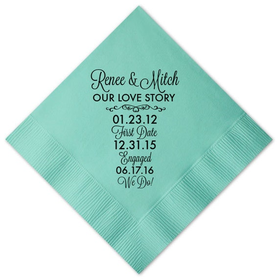 100 personalized 3 ply premoum napkins our love story timeline fun facts wedding cocktail